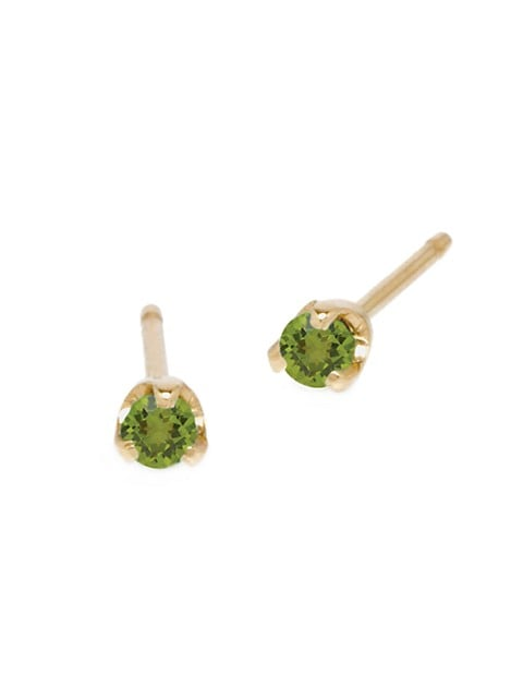 Birthstones 14K Yellow Gold & Peridot Stud Earrings