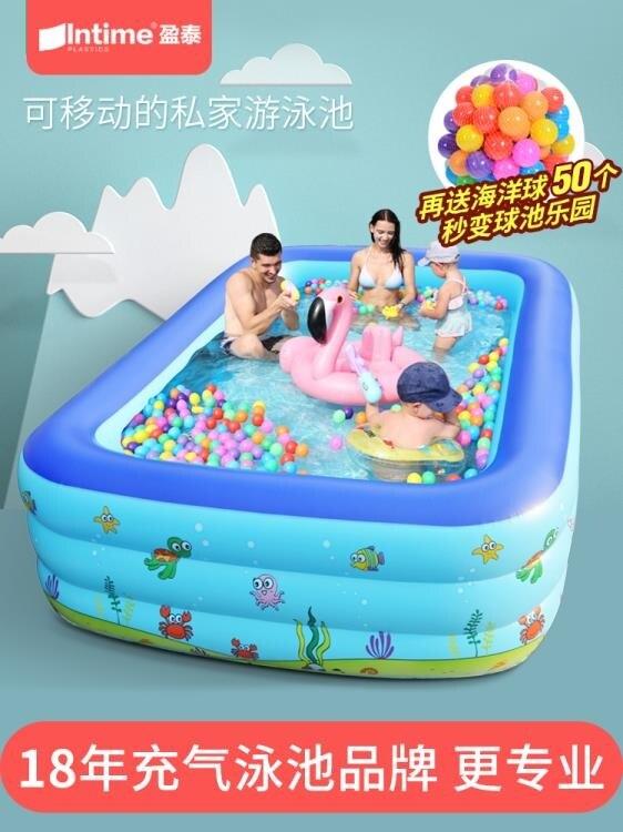 充氣泳池 盈泰充氣游泳池家用加厚小孩嬰兒家庭超大泳池戶外大型兒童水池--(如夢令)免運-桃園出貨