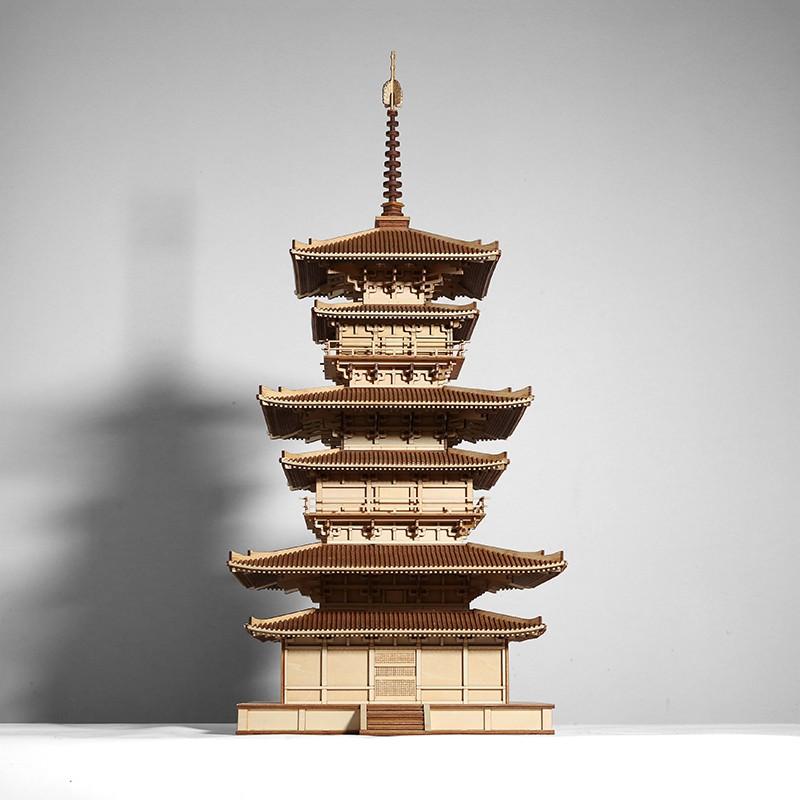 #現貨#免運#日本東塔古建筑文化遺產微縮手工木制拼裝軟裝飾模型雕塑臺擺件