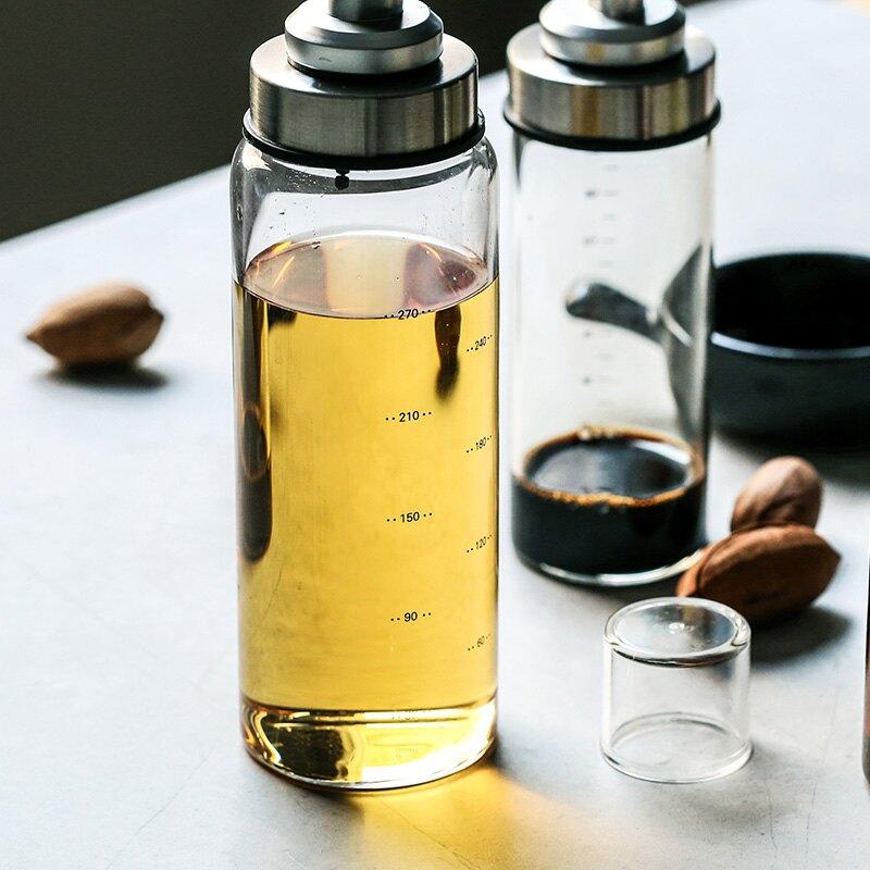 玻璃油瓶家用500ml透明帶刻度自動油壺醬油醋瓶調味