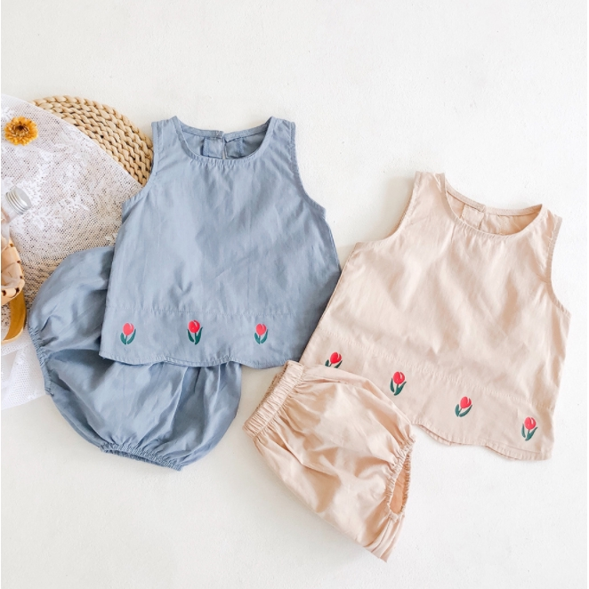 嬰幼兒純色印花背心上衣+PP褲兩件套裝 寶寶套裝 嬰幼兒套裝 麵包褲 PP褲【蘋果小舖】 (MO)2102 A7