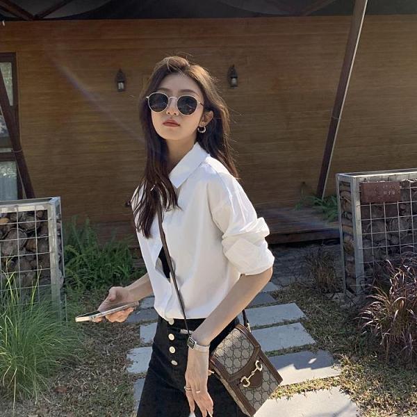 襯衫 女設計感小眾春新款韓版寬鬆百搭純色長袖疊穿襯衣【快速出貨】