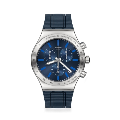 SWATCH Irony 金屬Chrono系列手錶ELECTRIC BLUE 沉穩藍(43mm)