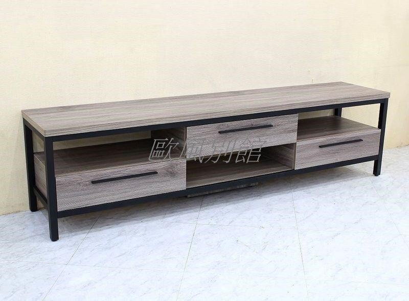 【歐風別館】箱根灰橡色6.3尺電視櫃【基隆至台中免運費】