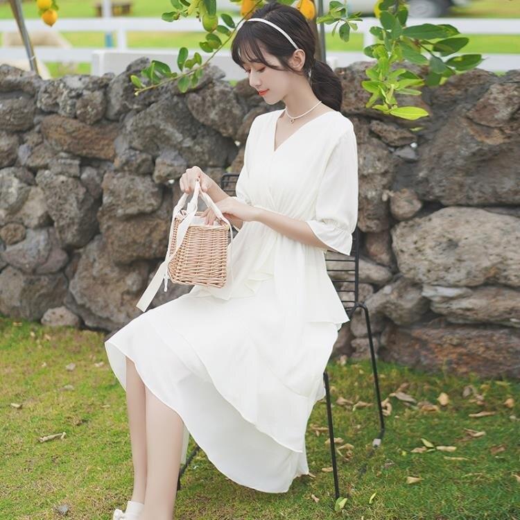 蛋糕裙 夏v領短袖收腰連身裙遮胯仙女白裙子中長款蛋糕裙【顧家家】