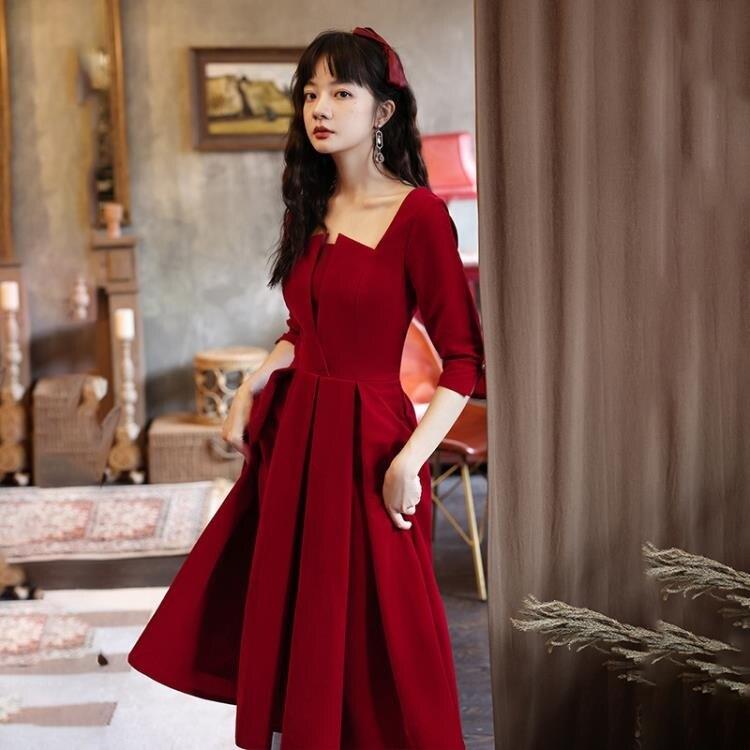 婚紗禮服 敬酒服新娘2020新款秋季平時可穿酒紅色絲絨結婚小禮服連衣裙回門