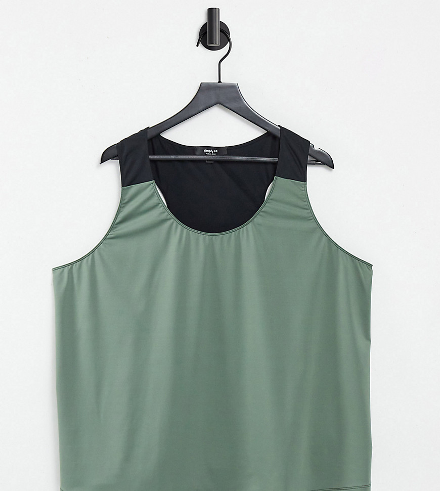 Simply Be Active vest with open back in khaki-Multi