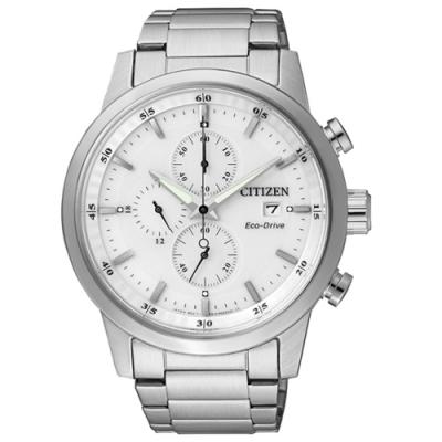 CITIZEN Eco-Drive 浪人足跡三眼腕錶-銀X白-CA0610-52A-43mm