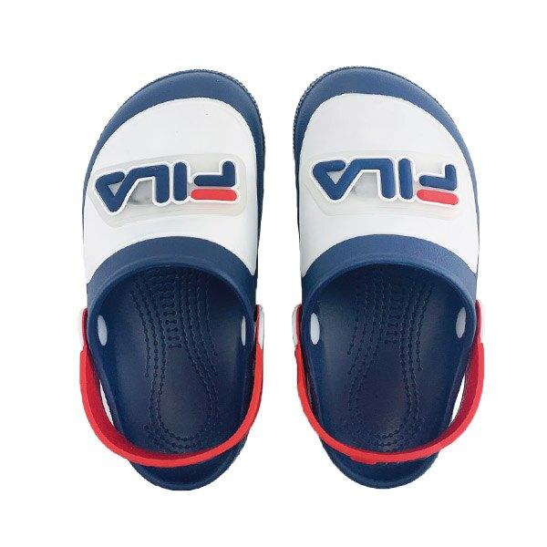 【滿額領券折$150】FILA 拖鞋 涼拖鞋 防水拖 電燈鞋 園丁鞋 童鞋 藍白紅【7S451V133】