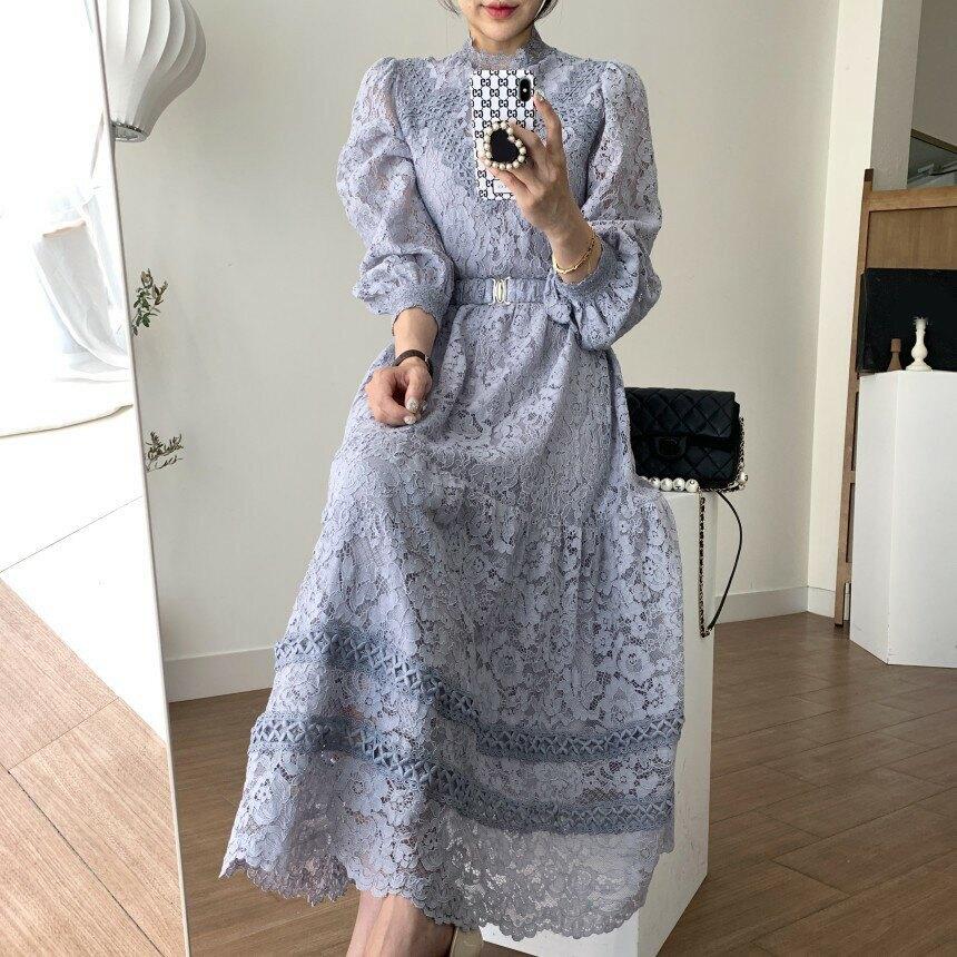 維多利亞 復古風 簡約優雅 小立領灰紫色長袖蕾絲洋裝 長洋裝 連身裙 連衣裙 復古典雅 婚宴洋裝 婚禮 質感 灰藍色
