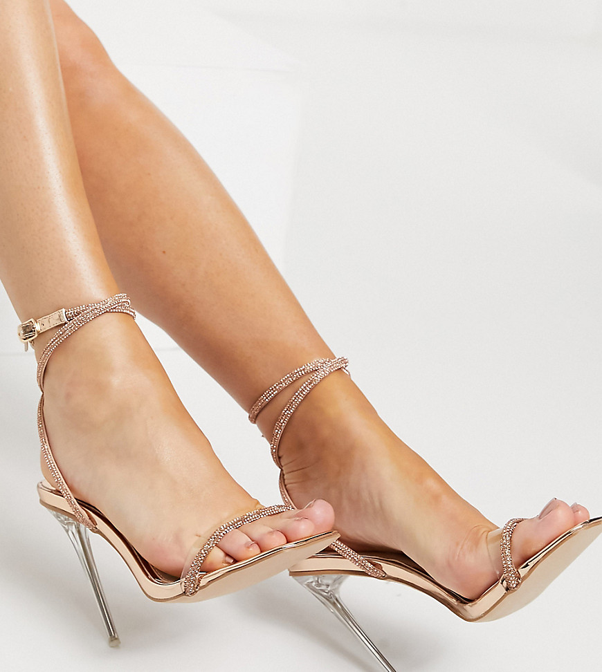 Be Mine Bridal Wide Fit Emberly clear heeled sandal with diamante detail-Gold