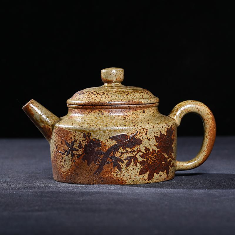 【茶文化】台灣回流老紫砂壺宜興早期鐵畫軒龍窯柴燒窯變全手工泥繪德鐘壺