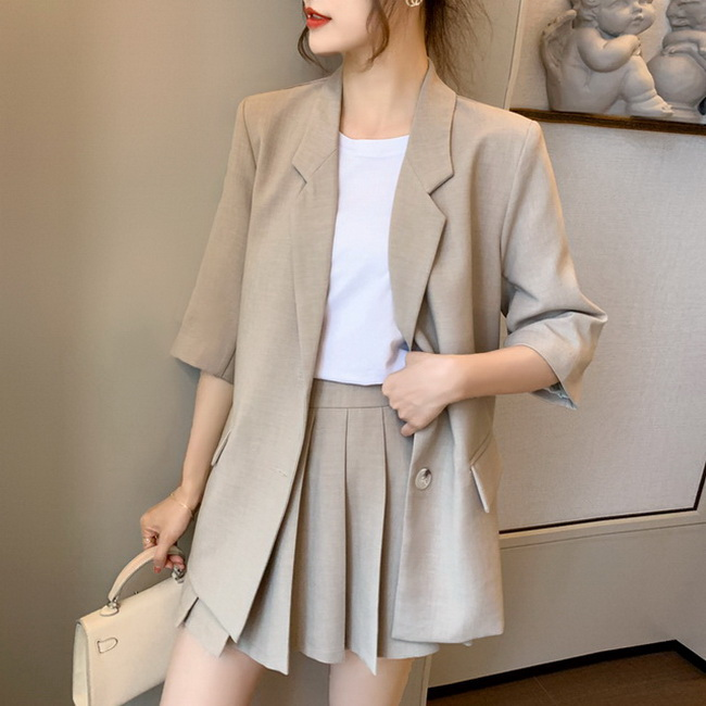 FOFU-西裝套裝女韓版時尚小香風時尚小個子百褶短裙兩件套【08SG05086】