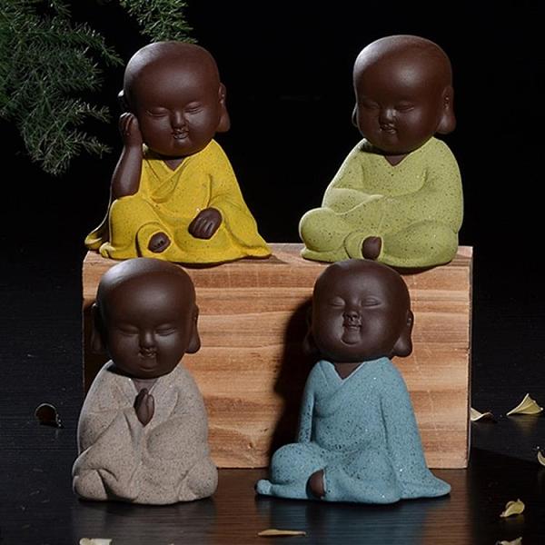 茶寵 手工陶瓷小和尚紫砂禪意小沙彌家居茶寵 港仔會社