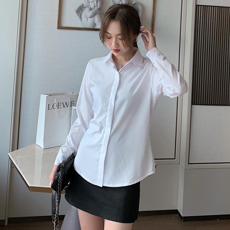 雪紡上衣 職業白襯衫女長袖女士工作服白色襯衣雪紡衫正裝上衣【顧家家】