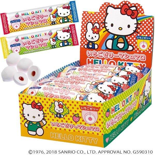 【江戶物語】EIWA 伊華 KITTY 草莓棉花糖條 4顆入 凱蒂貓 三麗鷗 夾心棉花糖 日本原裝進口