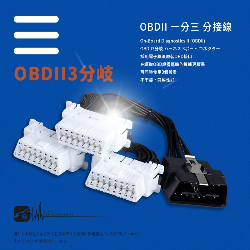 9Y44b【OBDII 一分三 分接線】一分三OBD2延長線 轉接線 汽車電腦連接線 行車電腦 GPS導航 抬頭顯示器