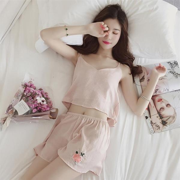冰絲睡衣女士夏季薄款韓版吊帶性感短袖兩件套真絲夏天套裝家居服【快速出貨】