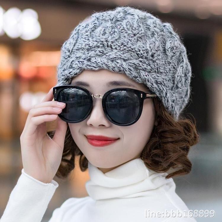 毛帽 毛線帽子女冬天手工編織優雅加絨保暖帽護耳防寒帽羊毛混紡針織帽 城市科技-盛行華爾街