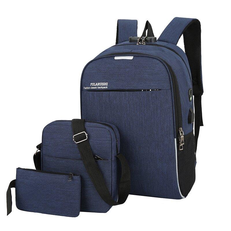 【新款推薦】  跨境男女士雙肩包密碼鎖防盜USB充電三件套電腦包戶外休閑背包