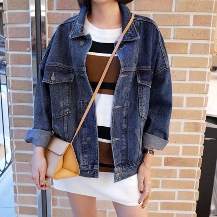 牛仔外套女秋2020新款韓版寬鬆bf蝙蝠袖學生復古短款牛仔上衣潮