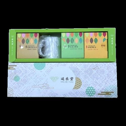 宮廷禮盒 花旗參養氣茶*1盒 津嗓潤喉茶*1盒 芭桑山楂茶*1盒+馬克杯*1個/組 廷禾堂
