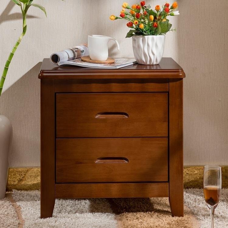 床頭櫃 收納櫃 橡木床頭櫃實木簡約現代宿舍臥室家用儲物櫃迷你床頭櫃經濟型整裝!~`-盛行華爾街