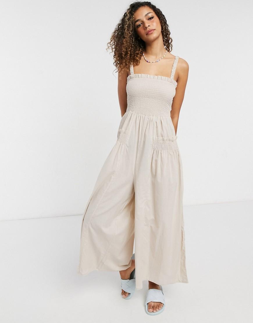 ASOS DESIGN shirred elastic back jumpsuit in stone-White