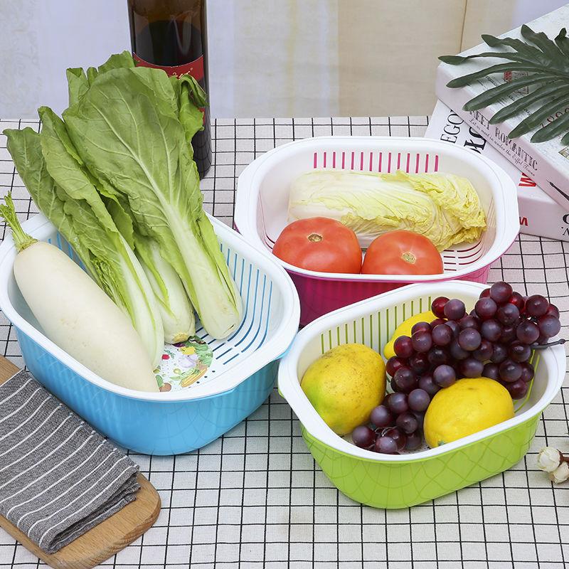 盆濾家用居家蔬菜瀝水籃豆類淘洗菜籃滴水塑料水果漏廚房篩子雙層