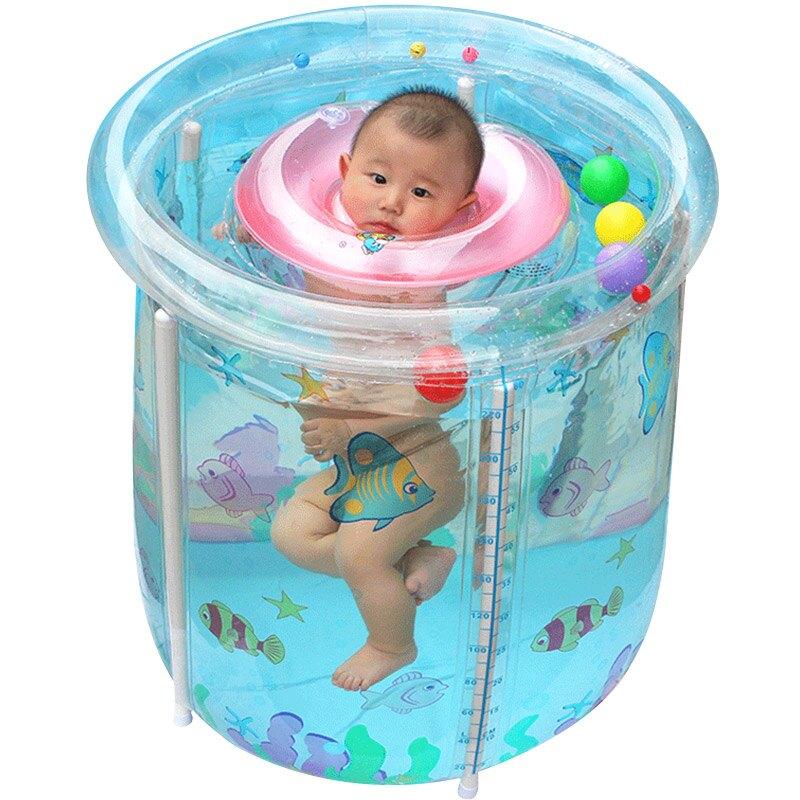 游泳桶家用游泳池童充氣透明室內加厚折疊洗澡浴缸