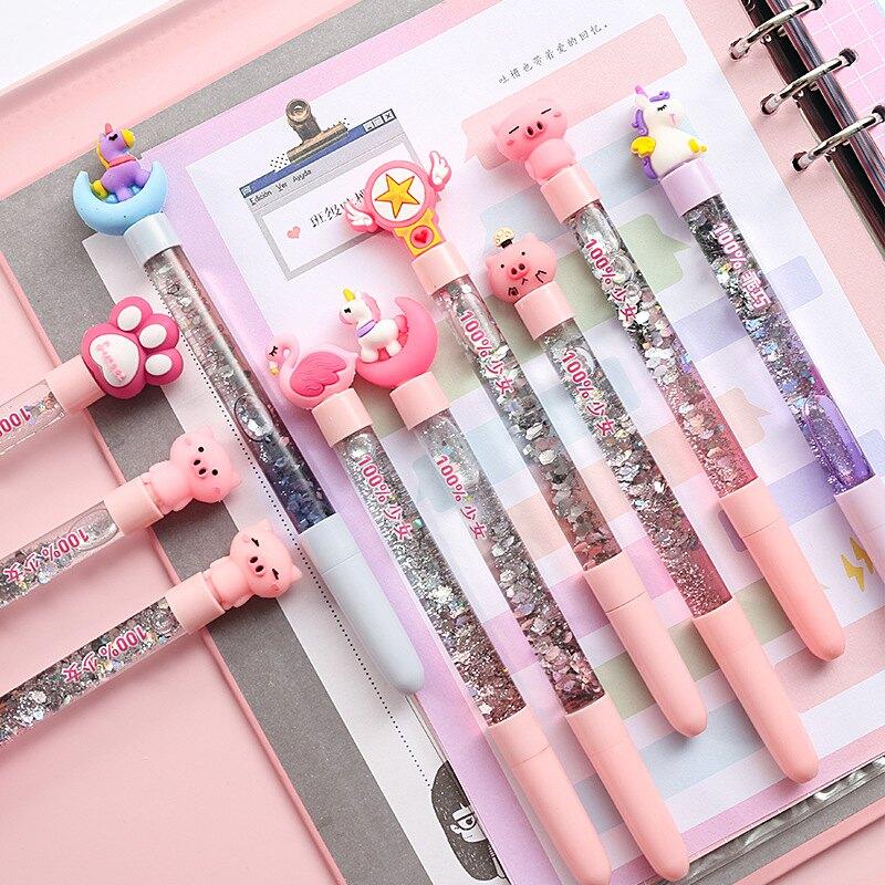 開學季學生用品可愛小仙女網紅短芯水筆粉色仙女筆流沙中性筆獎品