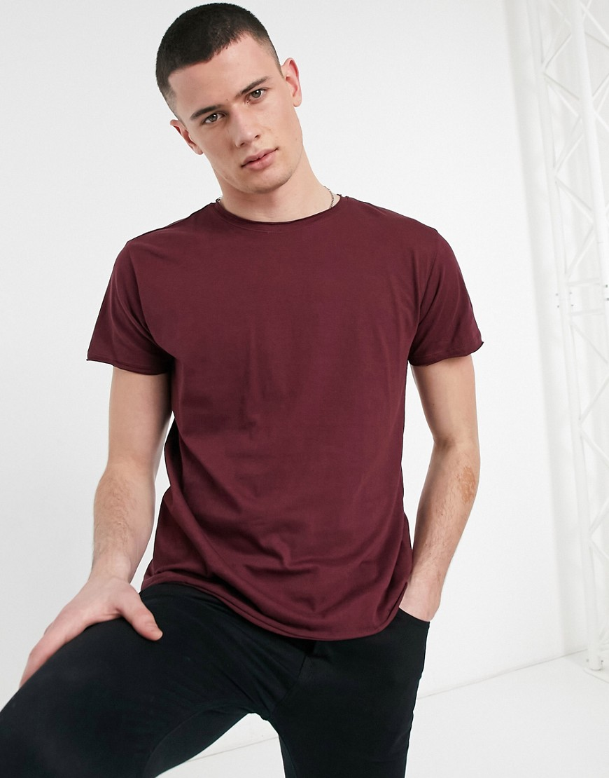Brave Soul raw edge t-shirt in burgundy-Red