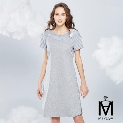 MYVEGA麥雪爾 MA假兩件吊帶造型短洋裝-灰