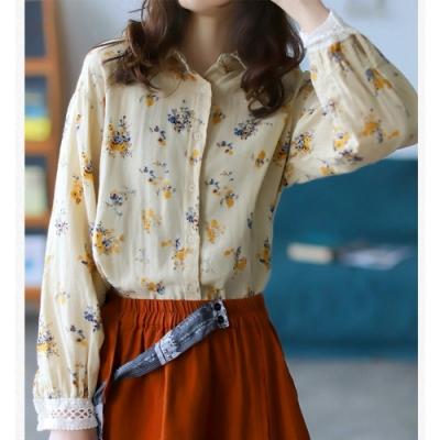 印花長袖襯衫顯瘦百搭韓版上衣-設計所在