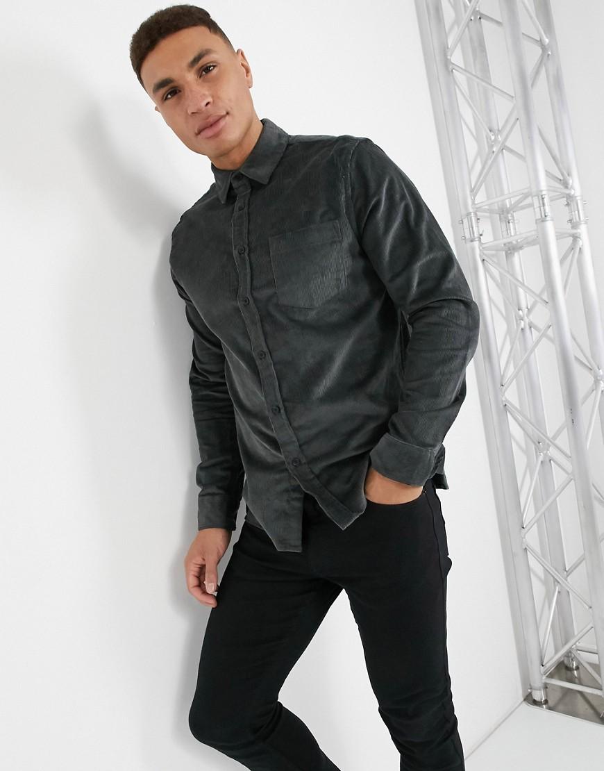 Topman corduroy slim shirt in charcoal grey