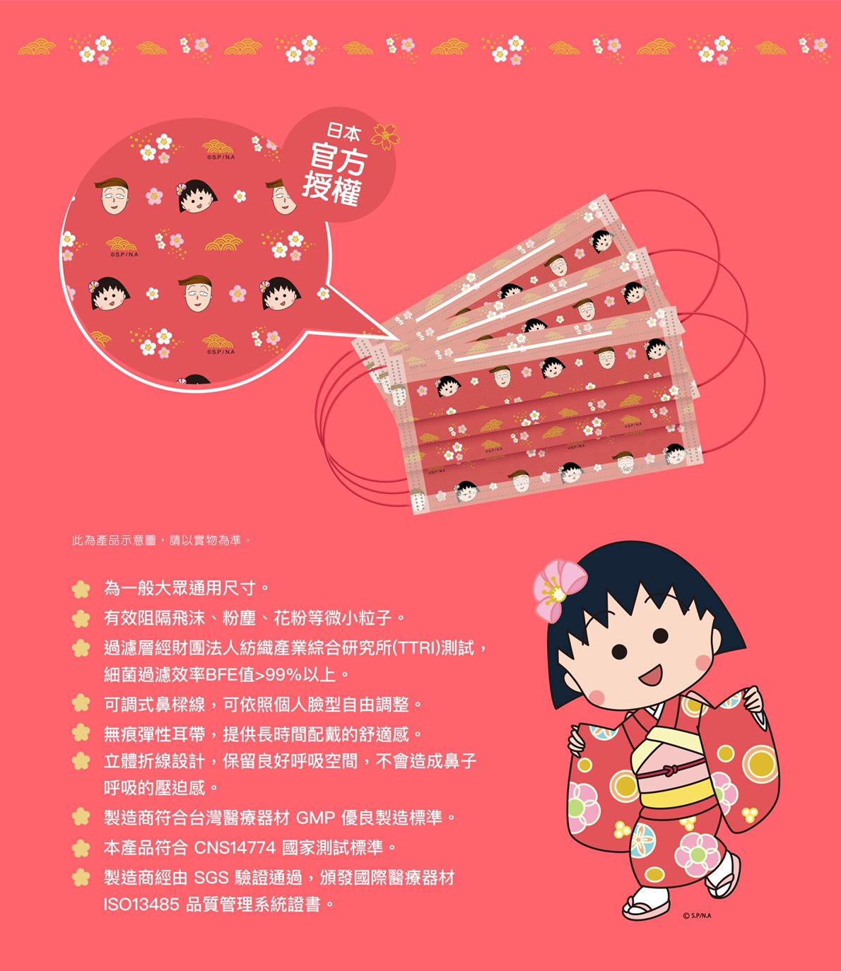 (限量)艾可兒櫻桃小丸子醫療口罩單片包裝花色隨機兒童3盒36入588元