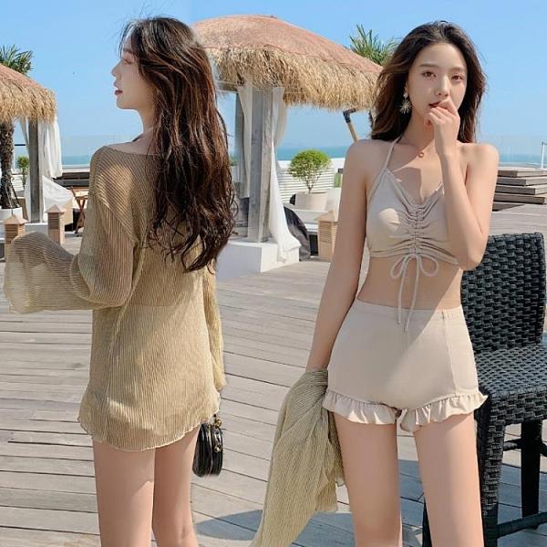 水母衣 泳衣女三件套2021年新款遮肚顯瘦保守學生溫泉小胸韓國INS小香風 交換禮物