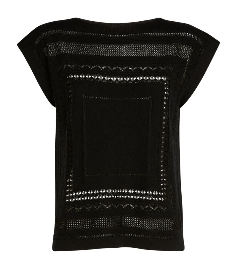 Barrie Cashmere-Cotton Lace Top