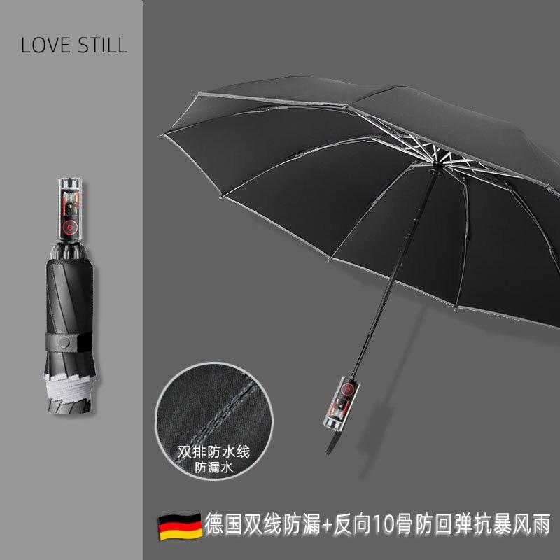 暴雨傘創意全自動反向傘男女防風晴雨傘車兩用黑膠