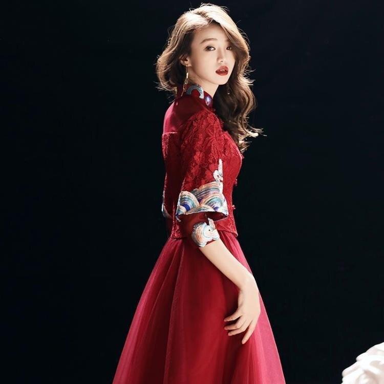 婚紗禮服 敬酒服新娘酒紅色女長袖婚禮服裝時尚結婚衣服回門訂婚禮服連衣裙