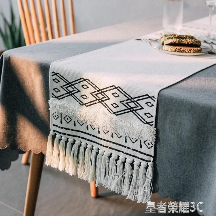 桌旗 茶幾裝飾布布藝桌旗北歐桌布長條現代簡約電視櫃餐桌桌旗布 年終鉅惠