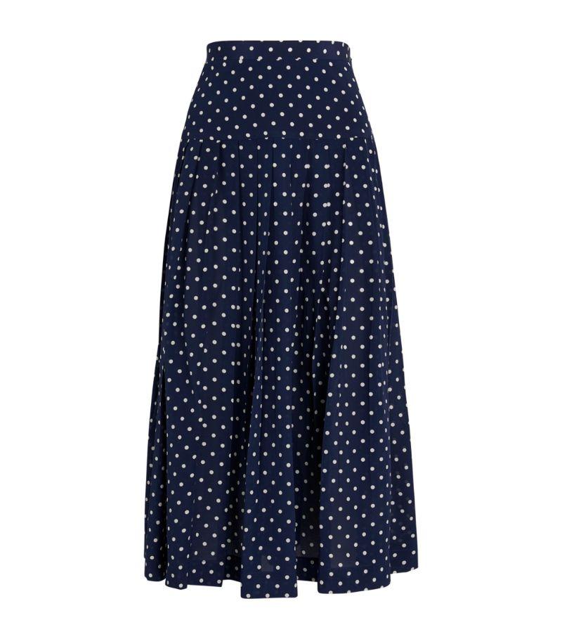 Alessandra Rich Silk Polka-Dot Skirt