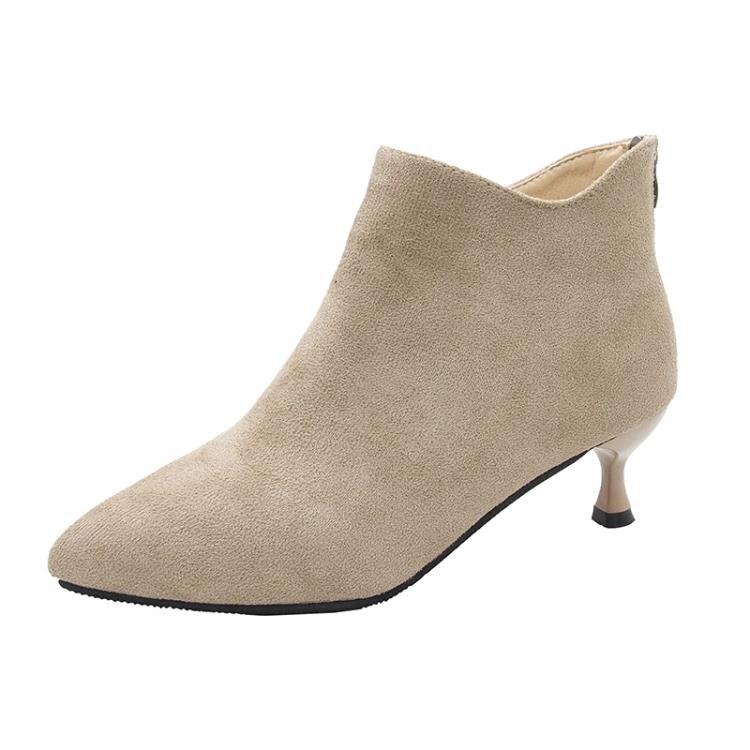高跟短靴 尖頭切爾西短靴女2021秋冬季新款細跟百搭英倫風復古瘦瘦高跟裸靴