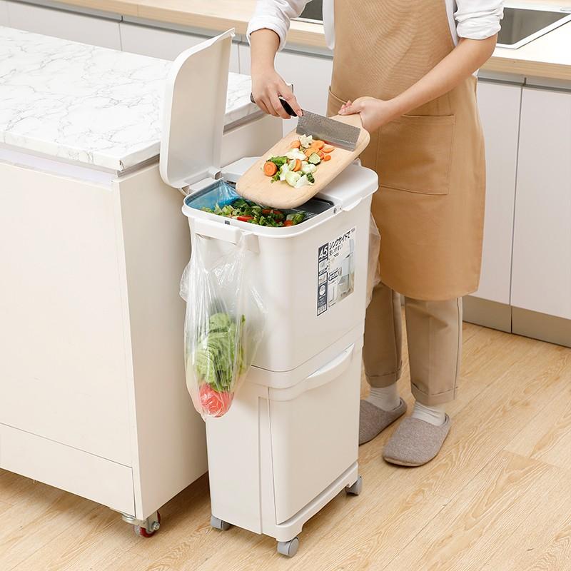 日本進口家用分類垃圾桶干濕分離帶蓋大號廚房專用雙層創意垃圾筒@鳳馳小店~