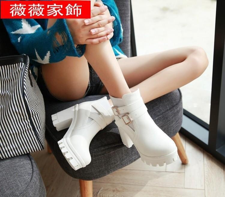 大碼靴子 韓版靴子女鞋春秋冬季短靴馬丁靴英倫風粗跟高跟短筒40白色大碼43