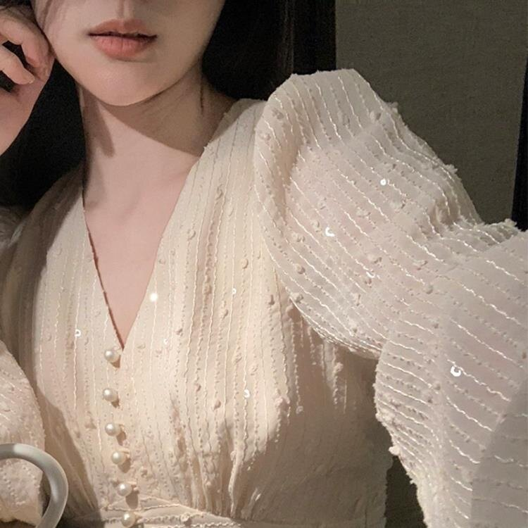 長袖v領雪紡洋裝女春秋大碼胖mm仙女裙溫柔風收腰顯瘦氣質長裙