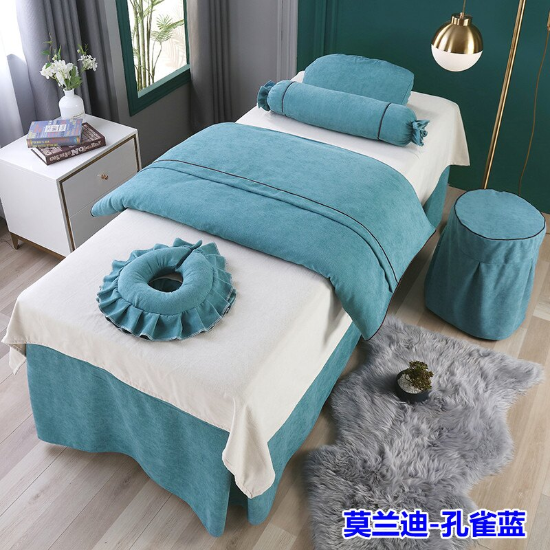 新款高檔美容床罩四件套全棉簡約奢華美容院加厚按摩洗頭床套單件