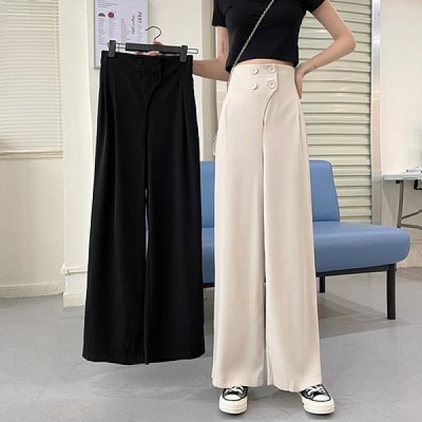 西褲 2205#實價 韓版高腰顯瘦垂感雙排扣寬鬆闊腿褲拖地直筒褲 17【快速出貨】