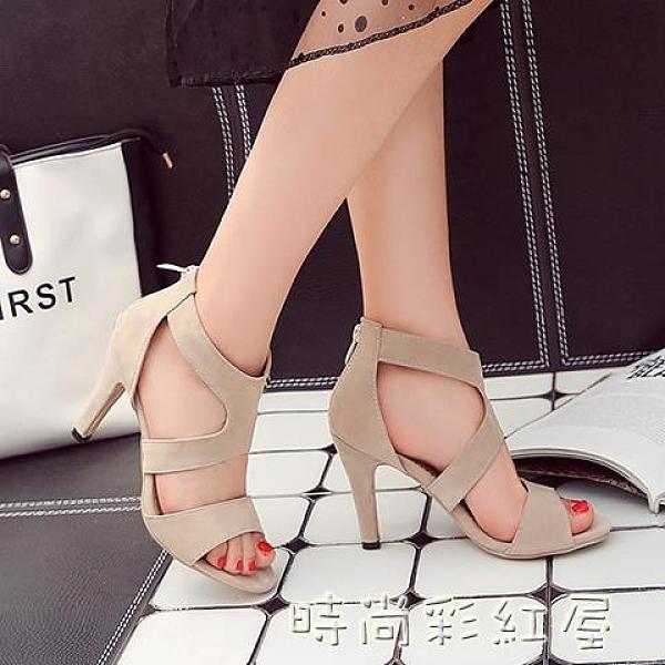 涼鞋女夏季新款高跟小腳舒適性感大碼41-42-43露趾細跟女鞋40「時尚彩紅屋」