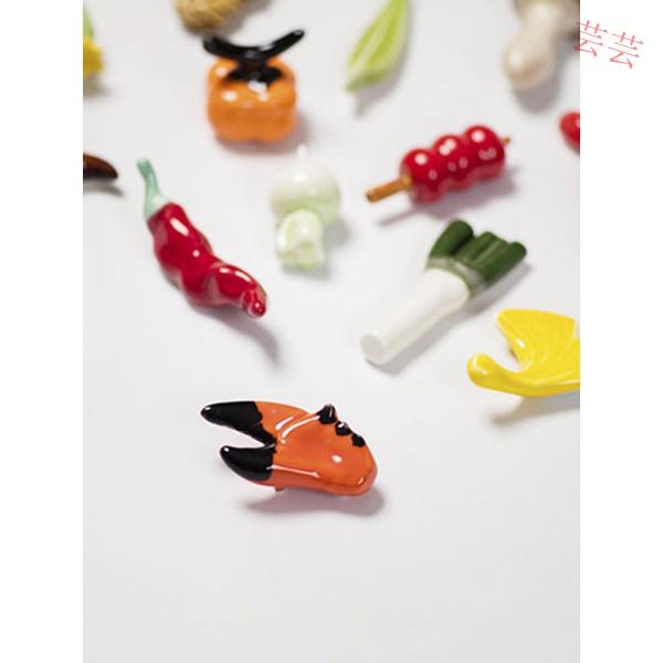 功夫道手工陶瓷筷子架托可愛蔬菜水果食物筷枕家用創意日式筷托芸芸